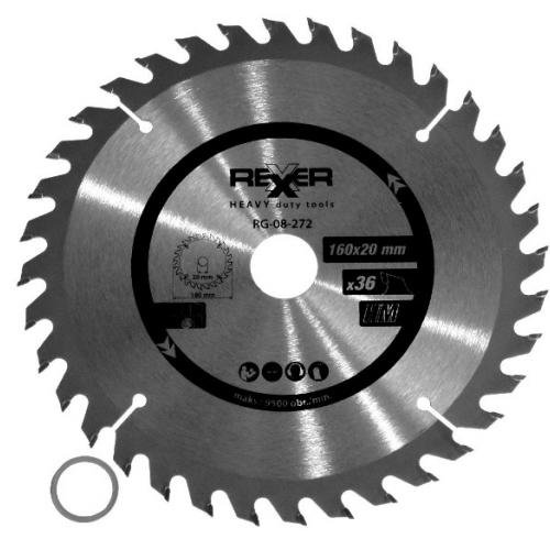 Циркулярен диск за дърво HM материал REXXER RG-08-272 - 160 / 20 / 36 зъба