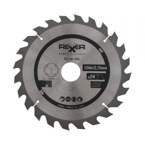Циркулярен диск за дърво HM материал REXXER RG-08-260 - 130 / 12.75 / 24 зъба
