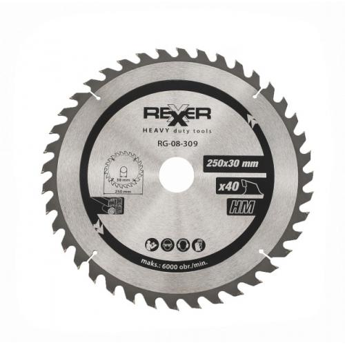 Циркулярен диск за дърво HM материал REXXER RG-08-309 - 250 / 30 / 40 зъба