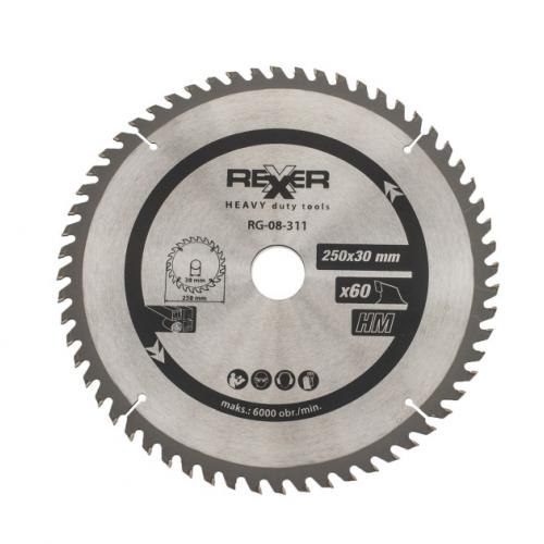 Циркулярен диск за дърво HM материал REXXER RG-08-311 - 250 / 30 / 60 зъба