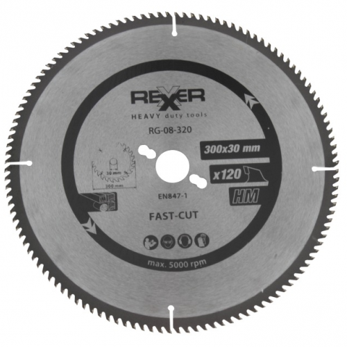 Циркулярен диск за алуминий HM материал Rexxer RG-08-320 - 300 / 30 / 120 зъба