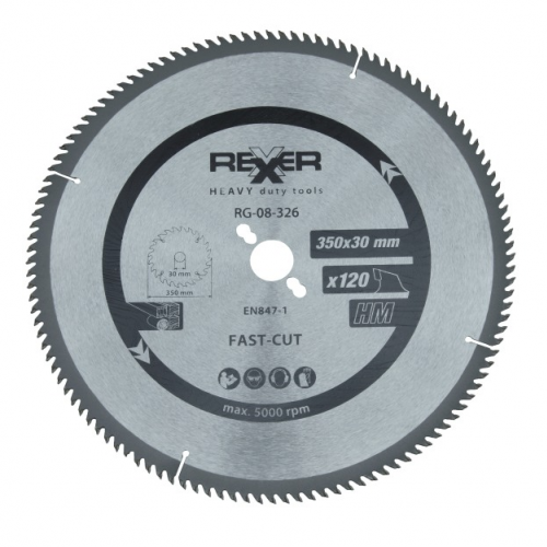 Циркулярен диск за алуминий HM материал Rexxer RG-08-326 - 350 / 30 / 120 зъба