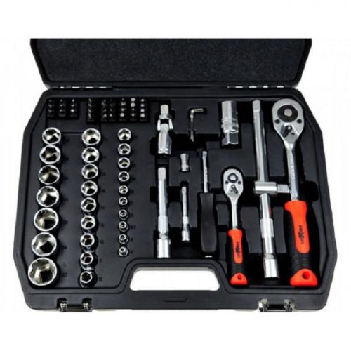 Гедоре комплект 1/2 и 1/4 Rexxer 72 части / хром-ванадий / куфар