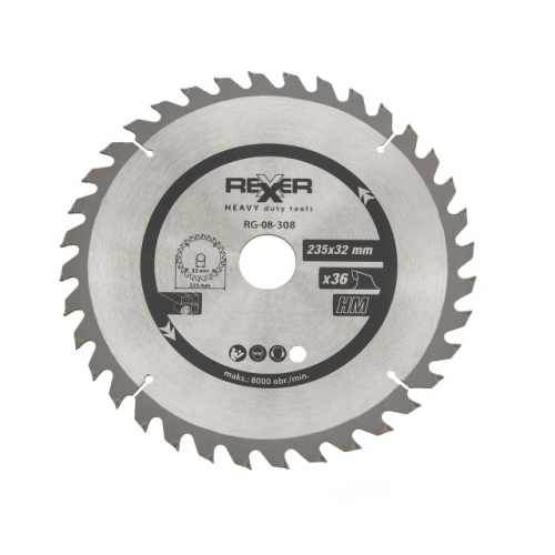 Циркулярен диск за дърво HM материал REXXER RG-08-308 - 235 / 32 / 36 зъба