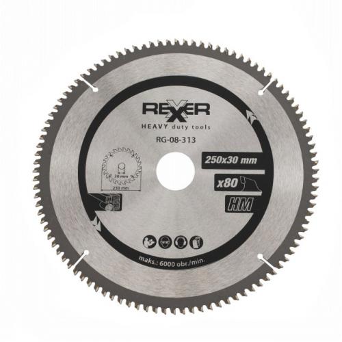 Циркулярен диск за дърво HM материал Rexxer RG-08-313 - 250 / 30 / 80 зъба/5500 max