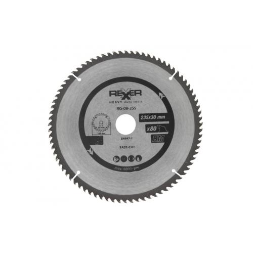 Циркулярен диск за дърво HM материал REXXER RG-08-355 - 235 / 30 / 80 зъба