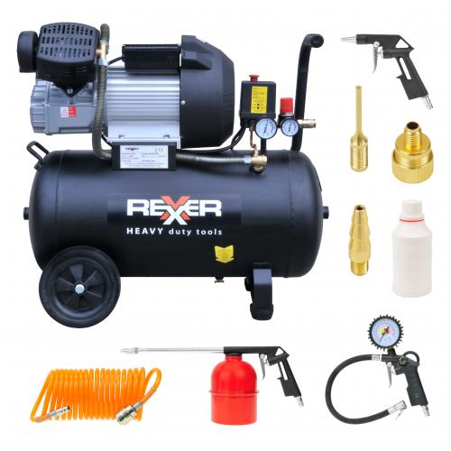 Маслен компресор с две глави Rexxer RH-13-508 8 bar / 3 hp / 50 l + аксесоари 7 бр.