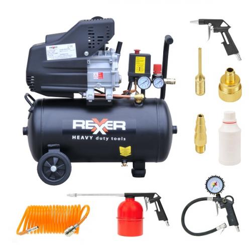 Маслен компресор Rexxer  8 bar / 1,5 hp / 24 l + аксесоари 7 бр.