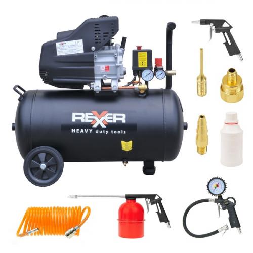 Маслен компресор Rexxer  8 bar / 1,5 hp / 50 l + аксесоари 7 бр.