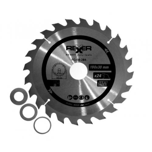 Циркулярен диск за дърво HM материал REXXER RG-08-284 - 190 / 30 / 24 зъба