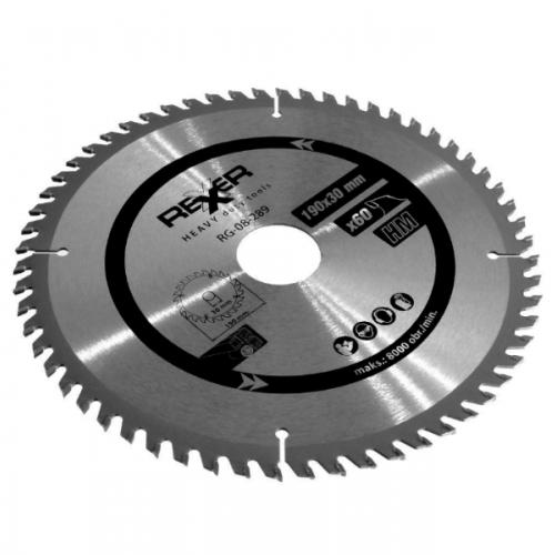 Циркулярен диск за дърво HM материал REXXER RG-08-289 - 190 / 30 / 60 зъба