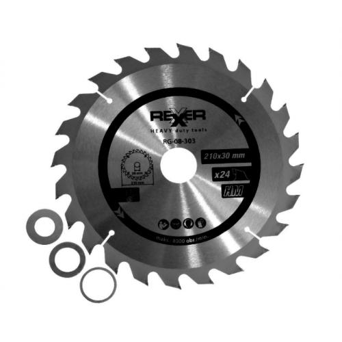 Циркулярен диск за дърво HM материал REXXER RG-08-303 - 210 / 30 / 24 зъба