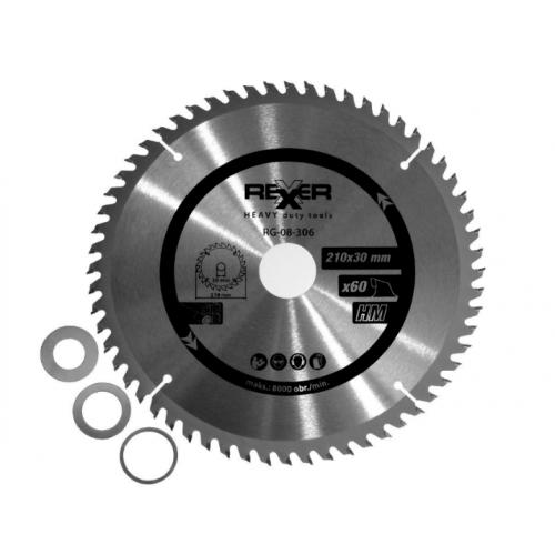 Циркулярен диск за дърво HM материал REXXER RG-08-306 - 210 / 30 / 60 зъба