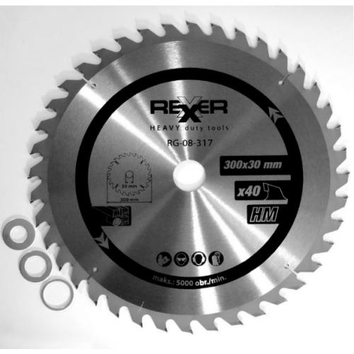 Циркулярен диск за дърво HM материал Rexxer RG-08-317 - 300 / 30 / 40 зъба
