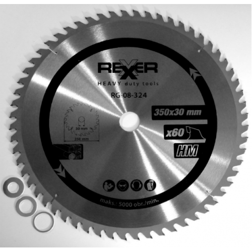 Циркулярен диск за дърво HM материал Rexxer RG-08-324 - 350 / 30 / 60 зъба