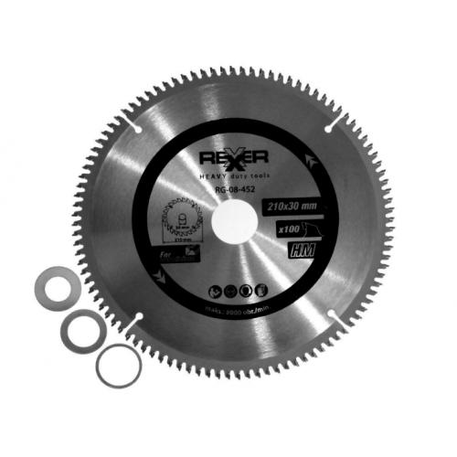 Циркулярен диск за алуминий HM материал REXXER RG-08-452 - 210 / 30 / 100 зъба