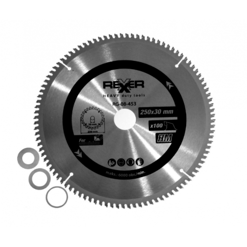 Циркулярен диск за алуминий HM материал Rexxer RG-08-453 - 250 / 30 / 100 зъба