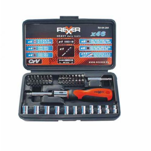 Комплект битове и вложки REXXER RA-04-264 46 части